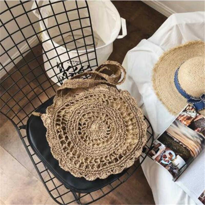 Boêmio sacos de palha para as mulheres círculo praia bolsas verão rattan sacos ombro artesanal malha viagem grande totes saco 2019 novo