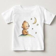 2018 latest popular printing Teddy bear summer T-shirt Cool girls shirt fashion cute Tee tops children