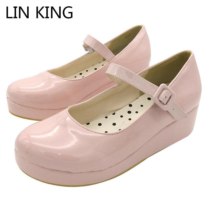 LIN KING Danganronpa Nanami Chiaki Anime Cosplay shoes Lolita Sweet Lady wedge Shoes Round Toe Buckle Women Pumps Plus Size 43 smoby детская горка king size цвет красный