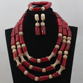 Luxury Red African Wedding Coral Bridal Beads Statement Necklace Set Gold Plated Tube Beads Coral Jewelry Free Ship CNR579