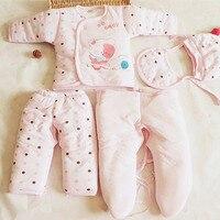 Vente chaude 5 PCS Bébé Coton Épais Vêtements Enfants Manteau pour L'extérieur chaud costumes pour bébé soins vêtements