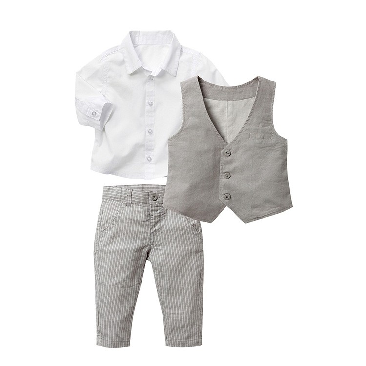 baby boy clothes gentleman boys wedding clothes with trouser atummn prom suits for weddings kids clothing set vest formal suit gentleman baby boy clothes black coat striped rompers clothing set button necktie suit newborn wedding suits cl0008