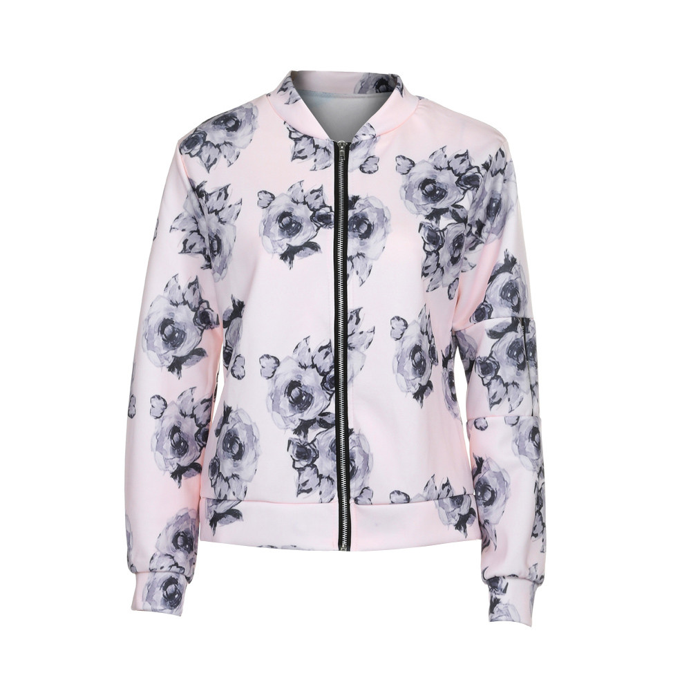 Womens Ladies Biker Celeb Camo Flower FLoral Print Zipper Up Bomber Jacket y82230