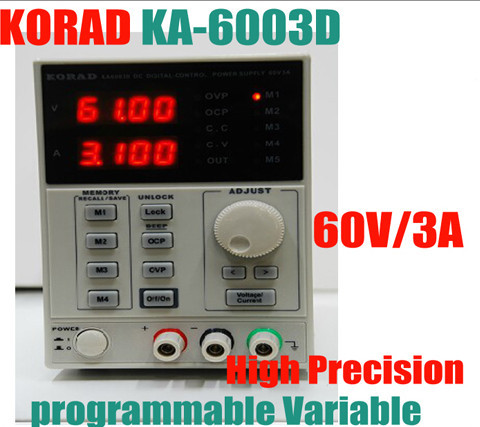 KORAD KA6003D High Precision The Lab programmable Adjustable Digital Regulated power supply DC Power Supply 60V/3A mA 4Ps it6720 programmable dc power supply 60v 5a lab grade
