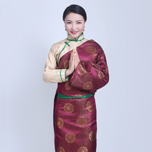 цена на Lady Lhasa Cotton Silk Gown robe stage costume China Tibet women wear Tourism Outfit in Bhutan Nepal Tibetan Race Stage costume