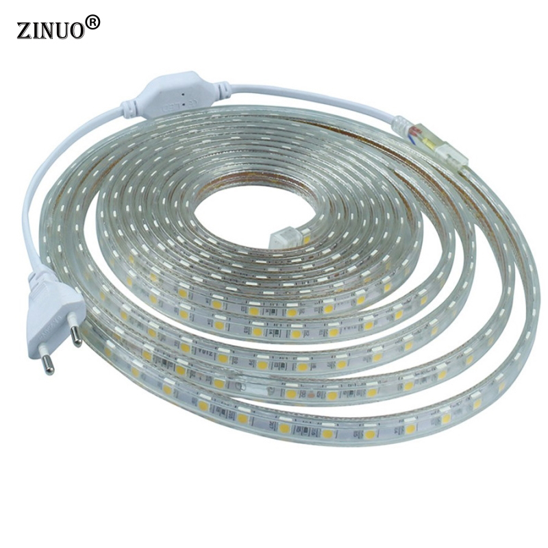 ZINUO 220V Led Strip Light 5050 RGB 60Leds/M Waterproof