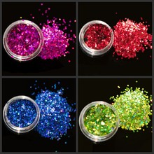 1 Set 12 Boxes Super Shining Laser Holo Nail Glitter Powder Holographic Sequin Art Decoration color