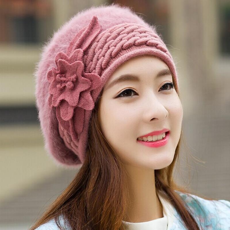 flower Beanies Women s Winter Hats For Women Knitted Bonnet Caps Winter  Women s Hats Brand Ski Wool Fur Beanie Skullies Hat 5d6ed7c9bc6