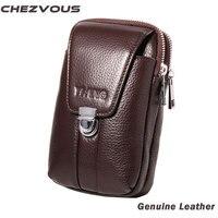 Fit For 4 7 6 0 Inch Smart Phone Fashion Genuine Leather Waist Bag Men Waist