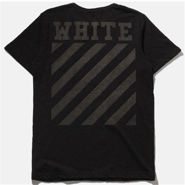 Nueva Moda hip hop verano marca camiseta de los hombres de blanco Virgil Abloh ropa estampado de rayas de algodón negro camiseta kanye west camiseta