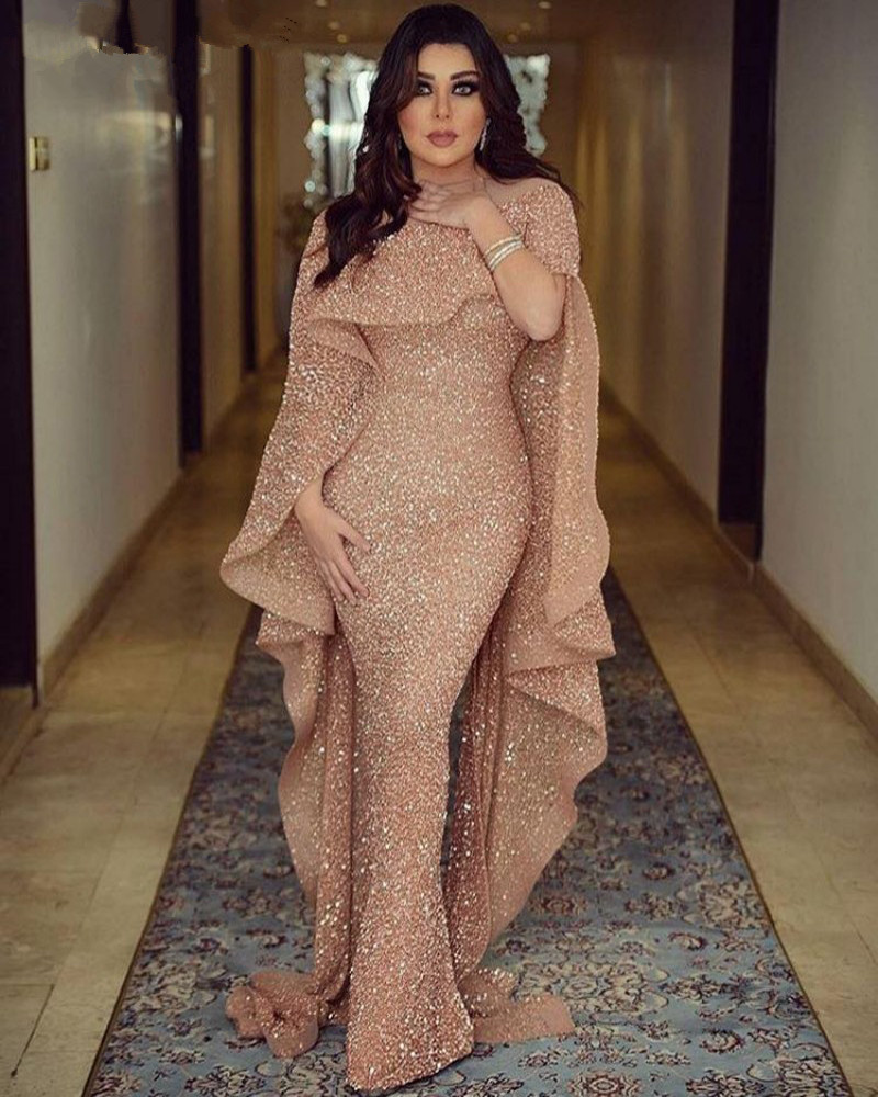 Sparkle Muslim Evening Dresses 2019 Mermaid High Collar Sequins Elegant Islamic Dubai Saudi Arabic Long Formal Evening Gown