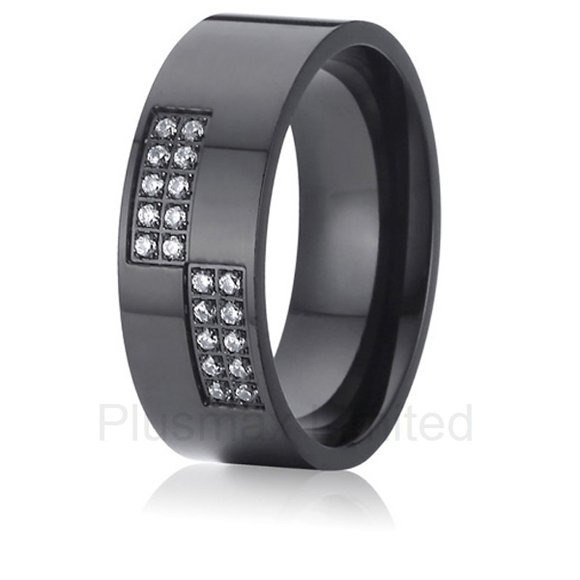Best China factory exotic black cz stone engagement wedding band rings for men and women men wedding band cz rings jewelry silver color anillos bague aneis ringen promise couple engagement rings for women