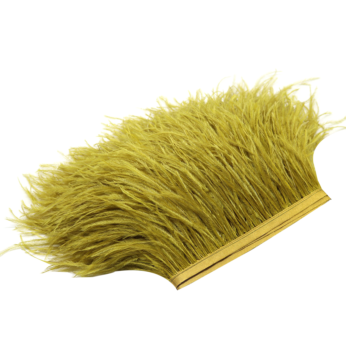 Ostrich Feathers Trims Fringe with Satin Ribbon Tape for Dress Sewing Crafts Costumes Decoration Pack of 2 Yards Green