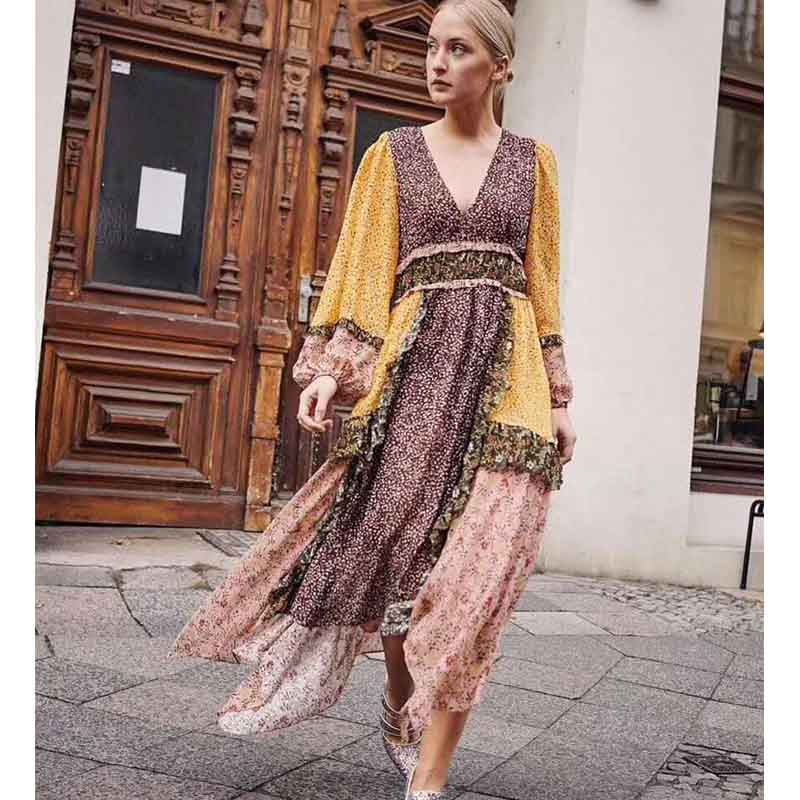 Cosmicchic Summer Runway Designer Maxi Dress Fashion V neck Long Lantern Sleeve Stitching Color Irregular Silk