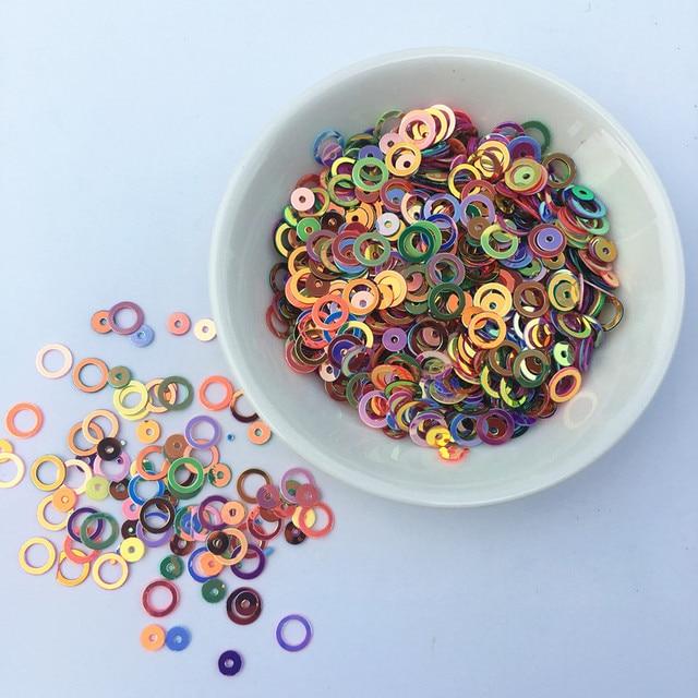 10g/paquete increíble brillo lentejuelas 4mm/6mm anillo círculo forma redonda suelta lentejuelas para uñas de arte de las mujeres de los niños Diy Accesorios