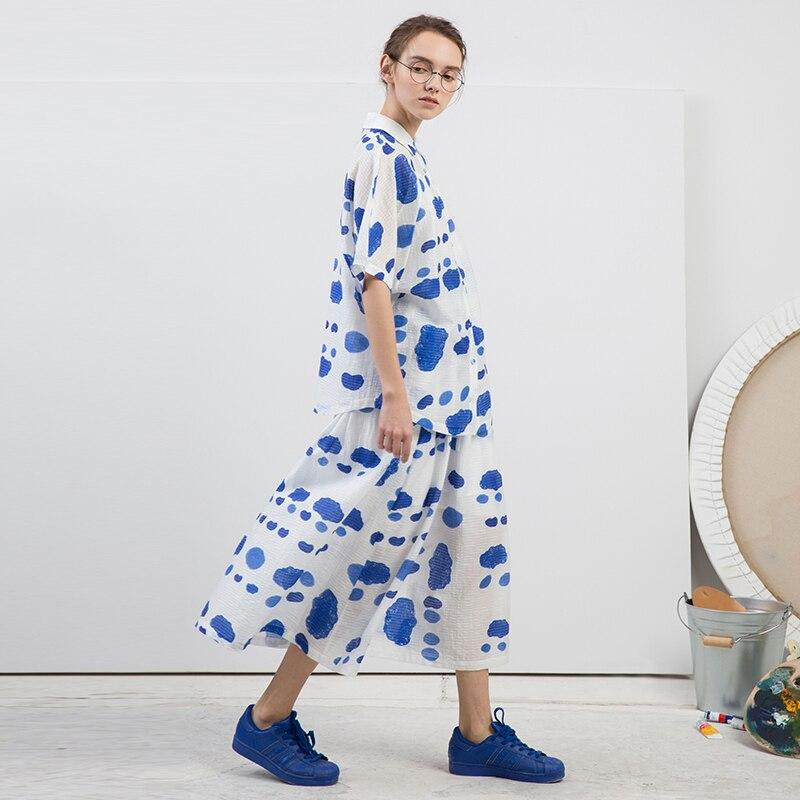 [EAM] 2018 New Summer Lapel Short Sleeve Blue Pattern Printed Loose Temperament Big Size Shirt Women Blouse Fashion Tide JG344 kiind of new blue women s xl geometric printed sheer cropped blouse $49 016