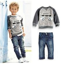 Lente Herfst Baby Jongens Kleding Sets Mode Kinderen Cartoon Auto Patroon T shirt + Jeans 2 stks/set Kids Kleding 2 3 4 5 6 jaar