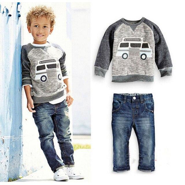 春秋の男の赤ちゃん服セットファッション子供漫画の車のパターン Tシャツ + ジーンズ 2 ピース/セット子供服 2 3 4 5 6 年