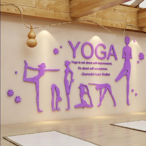 High Quality Yoga Wall Stickers Yoga Body Stickers 3D Gym Dance Room Layout Wall Stickers Yoga Hall Wall Decoration 1379