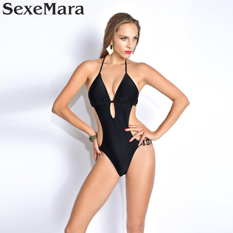 2017 Sexy Black Swimsuit One Piece Swimwear Women Backless Female Swimsuit High Cut Thong  Monokini Pad Bathing Suit Swim Wear high neck one piece swimsuit women high cut thong swimwear sexy bandage trikini hollow out mesh bodysuit female zipper monokini