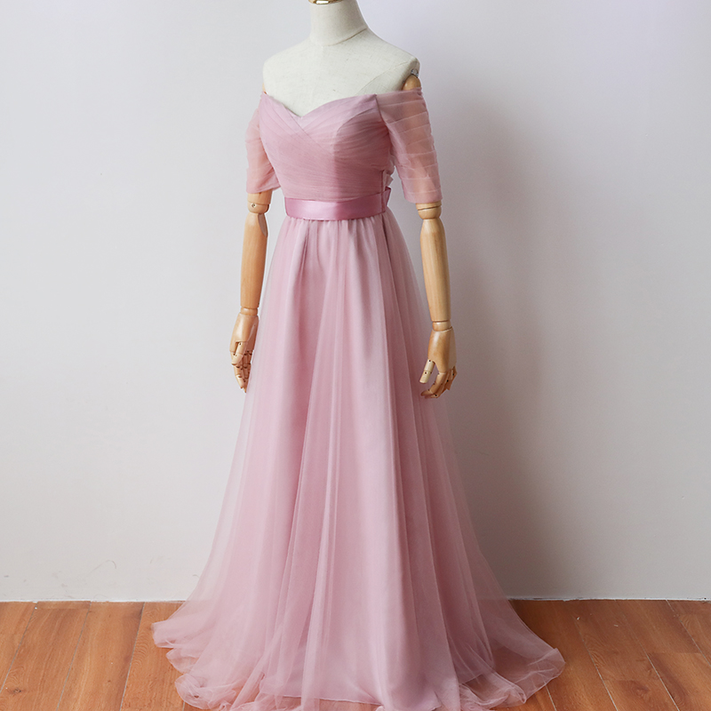 Red Bean Pink Colour Floor-Length Long Party Dress  Elegant Dress Women For Wedding Party  Bridesmaid Dress Bank Of Bandage