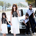 2015 Summer Matching Mother Daughter Clothes Black White Classic Family Look Tops Father Son Suits Mother Father Baby Clothes 30
