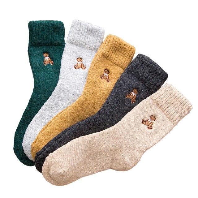 Japan Harajuku Fashion Character Crew Socks Cotton Winter Warm Terry Street Style Fluffy Wool Thermal Sock Women Christmas Gift
