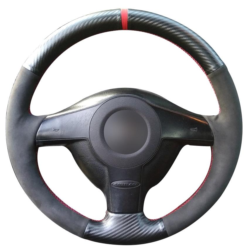 Carbon Fiber Leather Black Suede Steering Wheel Cover for Volkswagen VW Golf 4 Passat B5 1996