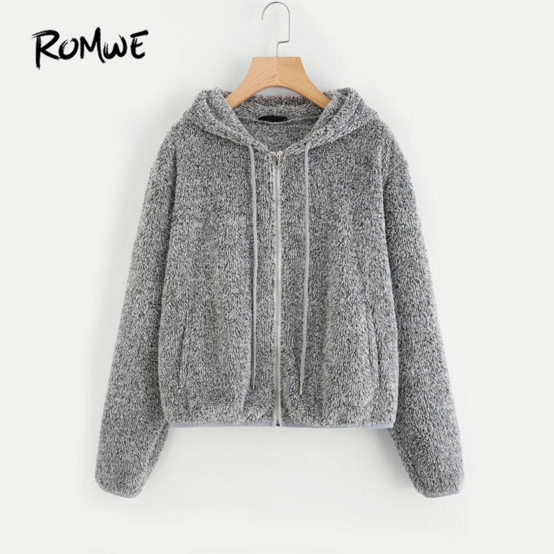 ROMWE Grau Zip Up Fuzzy Hoodie Jacke Plain Hoodie Dropped Schulter Naht Kordelzug Frauen Kleidung Zipper Casual Jacke