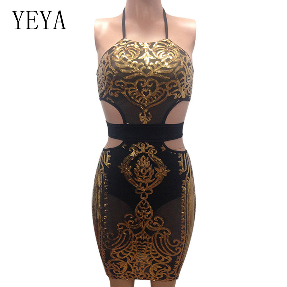 2a4db70a78b5b YEYA Women Sequin Dresses Halter Backless Hollow Out Party Night Club Dress  Sexy See Through Bodycon Mesh Dresses Vestidos Femme