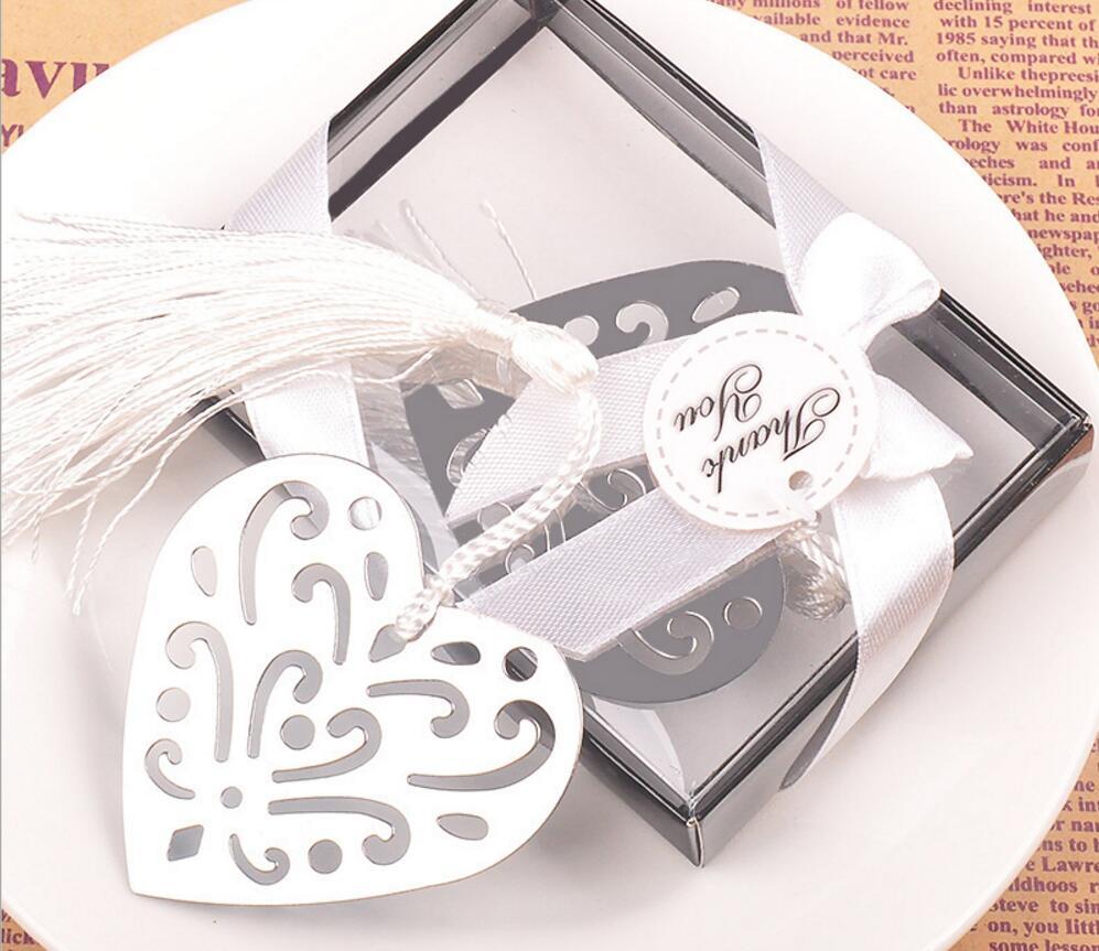 20pcs Silver Stainless Steel White Tassels Flower Heart Bookmark For ...