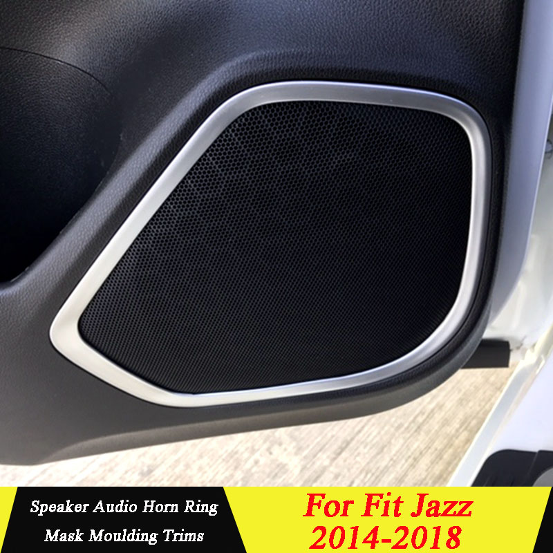 For <font><b>Honda</b></font> <font><b>Fit</b></font> Jazz 2014 <font><b>2015</b></font> <font><b>2016</b></font> 2017 2018 ABS Material Speaker Audio Horn Ring Mask Moulding Trims Inner Cover Car Styling image