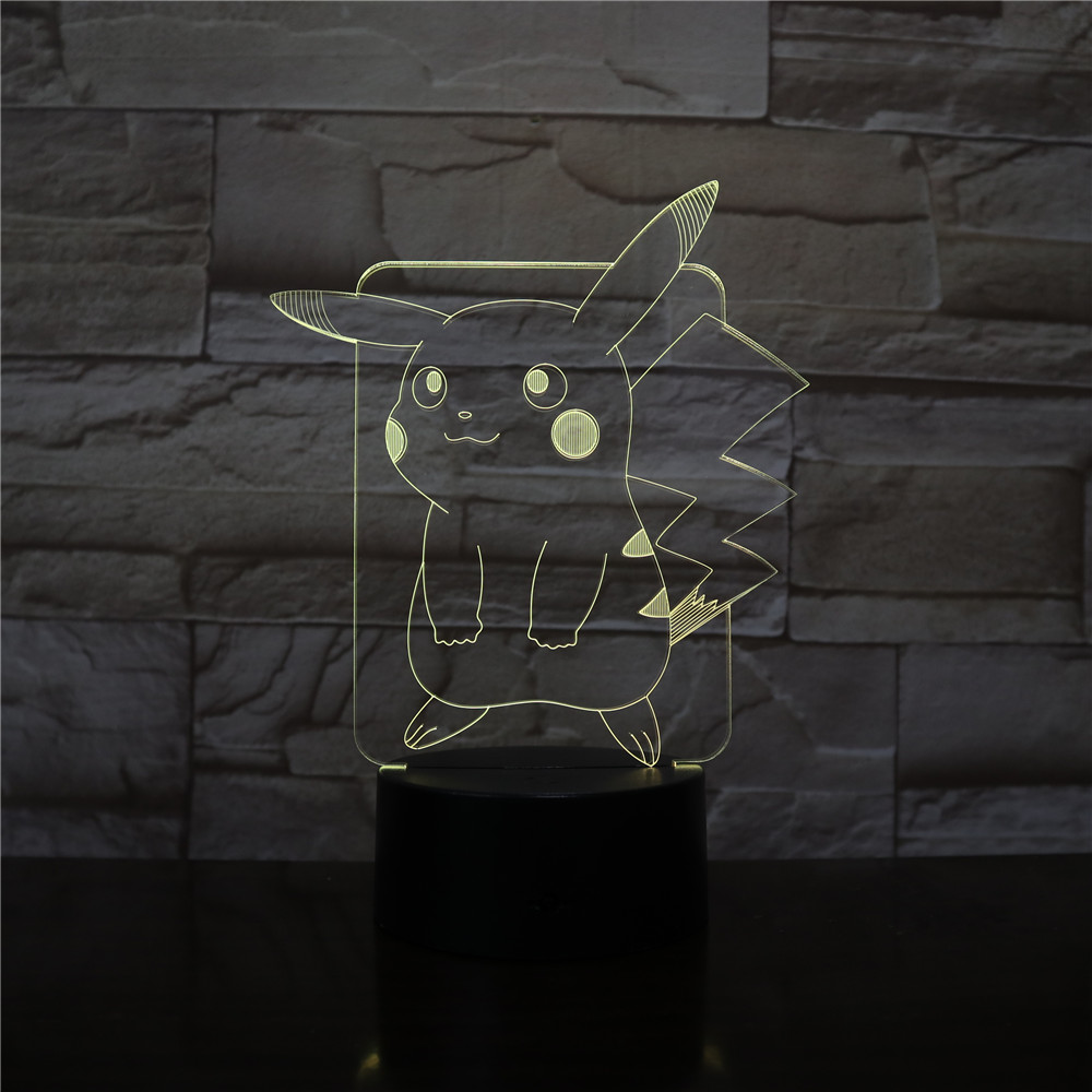 Pokemon Go Pikachu Figure Kids Night Light LED Bedside Atmosphere Colorful Night Light Child Holiday Gift 3D Lamp RGB Pikachu
