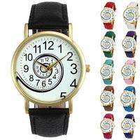 Quartz Watch Men Women Faux Leather Analog Quartz Wrist Watch ,Aug 24