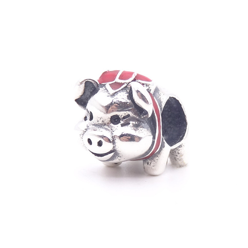 Lucky Sonny Fit Original Pandora Charm Bead Bracelet 925 Sterling Silver Charm Cute Pig Image Animal Jewelry Making DIY Berloque