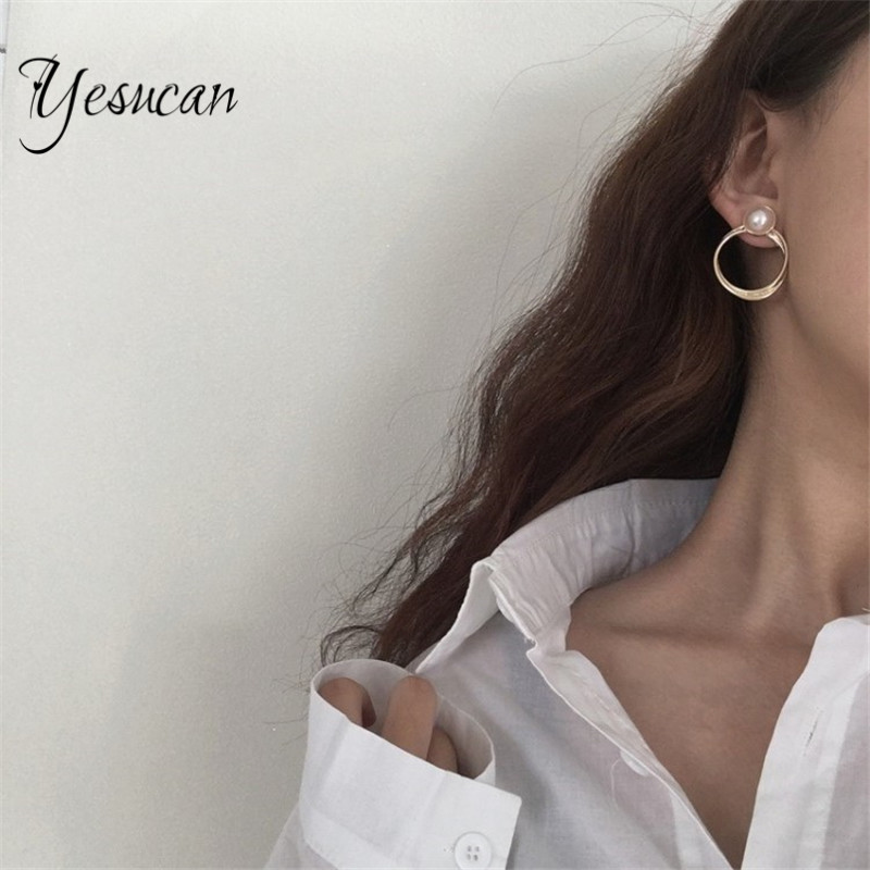 Yesucan Round Clip Earrings Without Piercing For Women Elegant Resin Rhinestone Vintage Bohemia Female Clip On Earrings 2 Styles