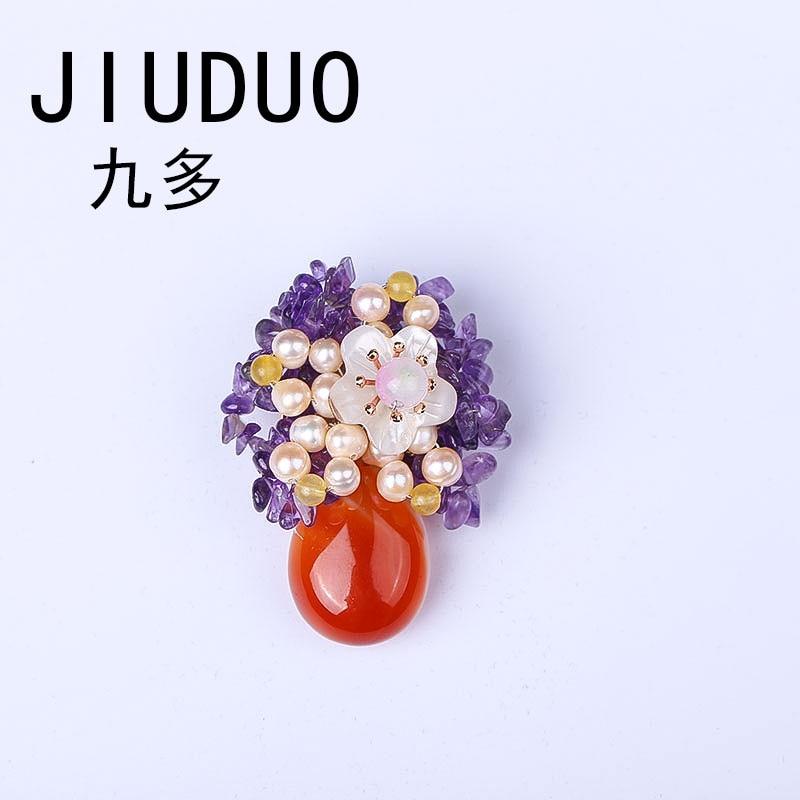 Ausdrucksvoll Jiuduo Retro Pin Natürliche Stein Brosche Lila Kristall Taste Für Frauen Dauerhaft Im Einsatz