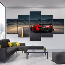 Modern Canvas HD Prints 5 Pieces Mountain L andscape McLaren Red Sport Car  Pictures For Living Room Home Decorative Artwork