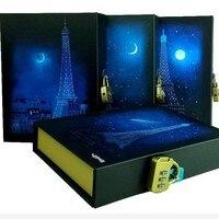 Noctilucous Rêve Bleu Lune Paris Délicat Journal Avec Serrure Portable Vintage Style Composition Livre Relié Cadeaux