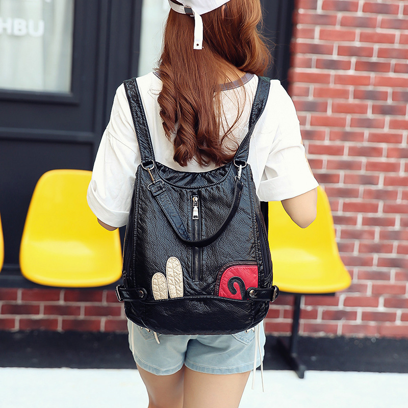 Women Backpack Large Capacity Soft Pu Leather School Bags For Teenage Girls Female Shoulder Bag Anti Theft Backpack For travel