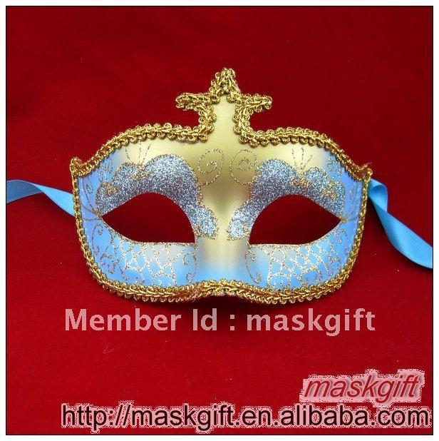 Популярная Венецианская стильная светло-голубая и Золотая Карнавальная маска для глаз