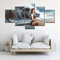 אמנות קיר מופשט רקע גל הים ענק יוגה ילדה יצירות אמנות ציור מודרני עיצוב בית בד מתנת קישוט חדר במשרד
