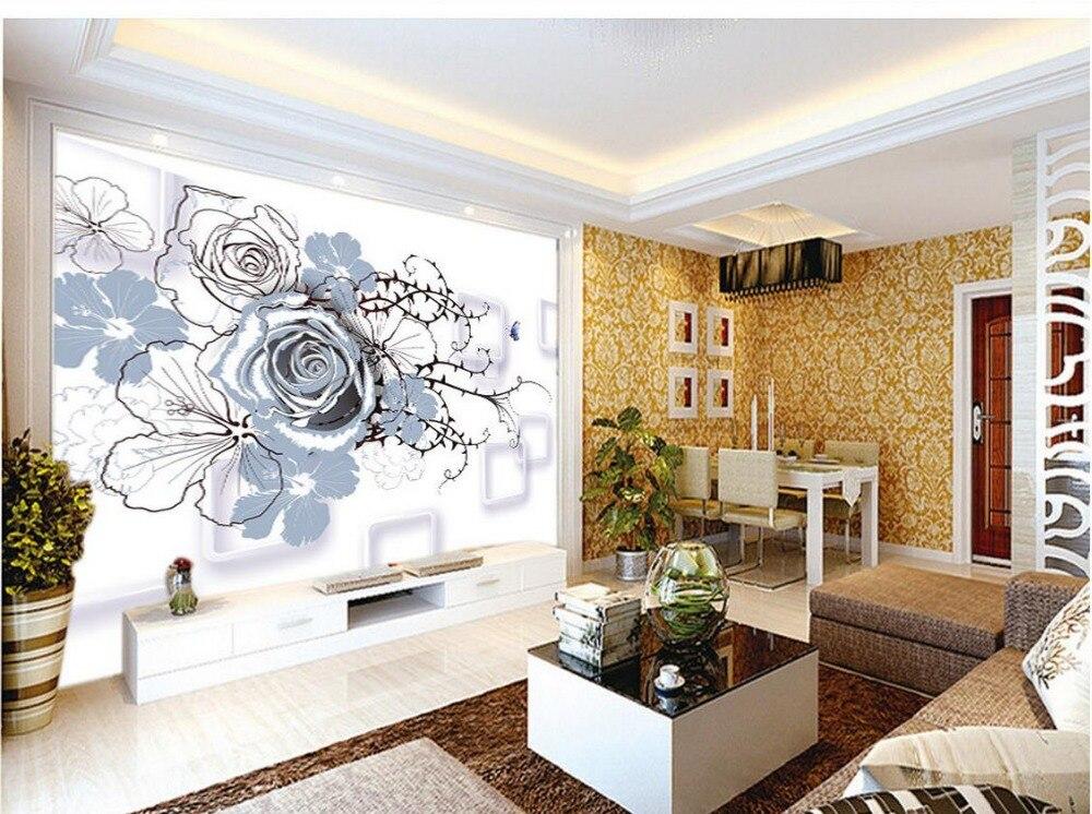 Φ_ΦBehang muurschilderingen bloemen Jane Europese mode bloem doos 3d ...