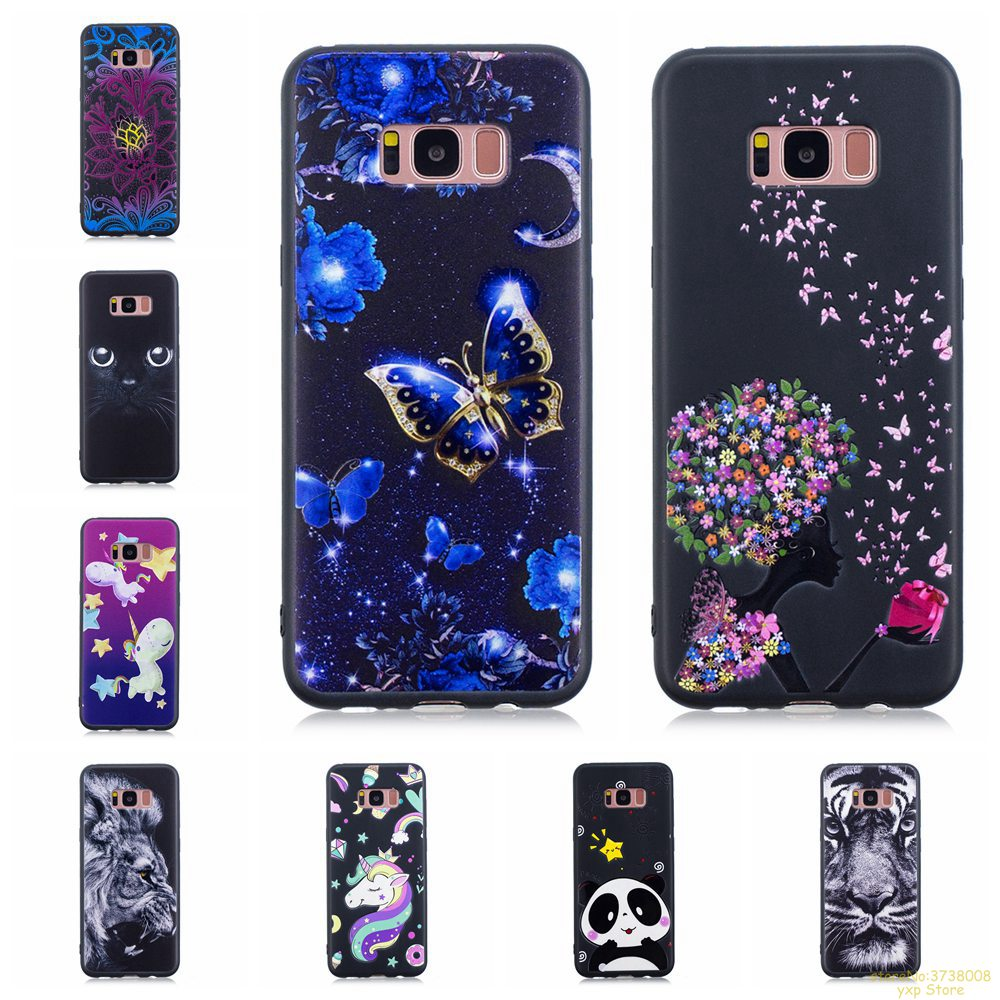 Detail Feedback Questions about phone case For Samsung S8 unicorn Panda  butterfly lion girl 3D Relief Black TPU Silicone Cover For Galaxy S8 hoesje  Fundas ... 9603f62be0c