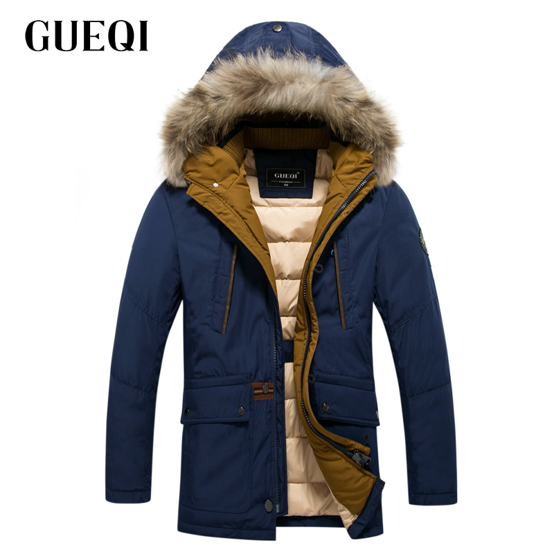ФОТО GUEQI Brand Men Warm Down Parkas Plus Size M-3XL Fur Hooded Design ADD Fleece Man Winter Long Fashion Jackets