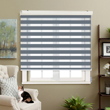Adjustable Sunlight Home Light grey Valance Dual Roller Blinds Zebra Customized