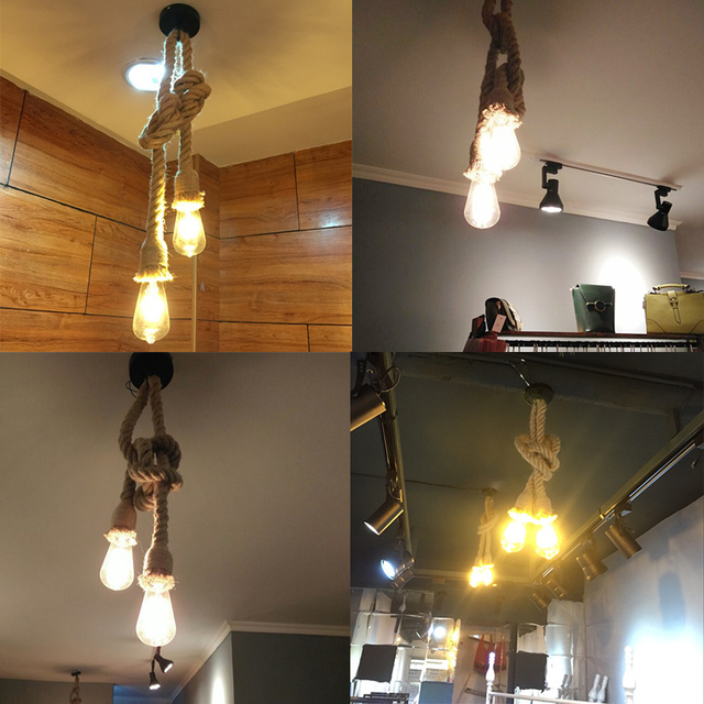 Retro Lamp E27 Hemp Rope Pendant Light Vintage Loft Creative lighting American Style lights Dining Living Room Restaurant Decor 6