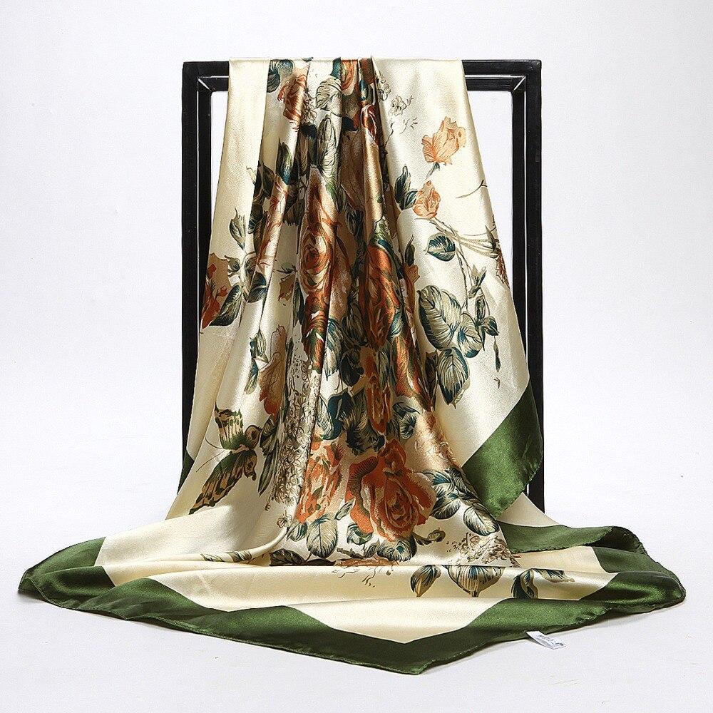 Summer Silk Scarf Women Large Satin Square Muslim Hijab Scarves Shawl luxury Foulard Wraps Vintage Floral Print Bandana 90*90cm