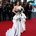 Cannes Film High Low White and Black Fashion Aishwarya Rai Celebrity Red Carpet Dresses Formal Evening Gowns Vestido de renda