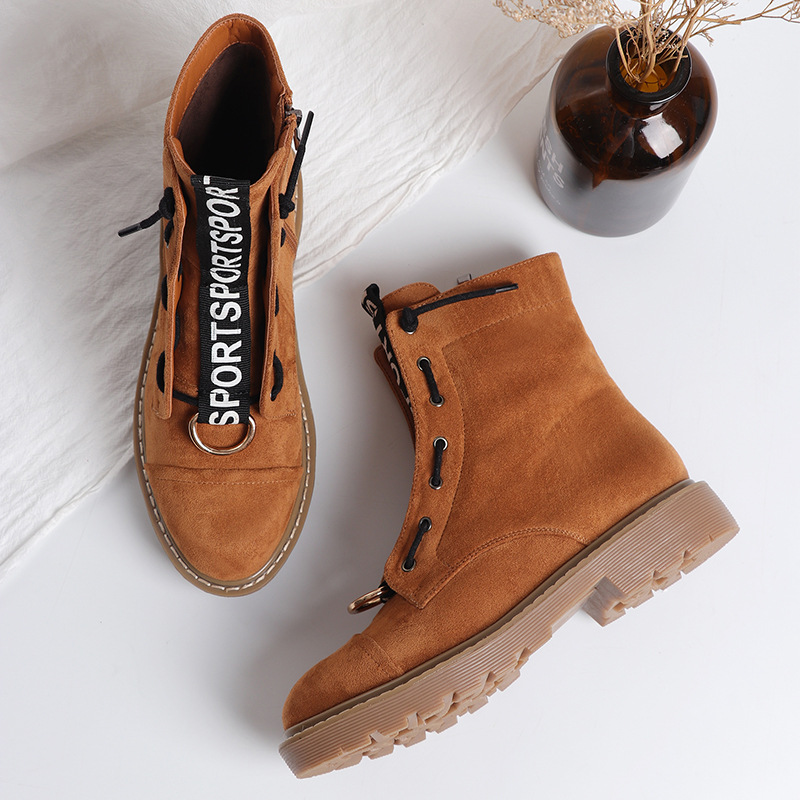 Women ankle Boots 2018 New Autumn Winter Motorcycle Boots Side Zipper Leather Waterproof Lady Fashion Shoes Letters Black 35 40-in Ankle Boots from Shoes    1